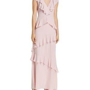 BCBGMAXAZRIA Tiered Ruffle V-Neck Maxi Dress